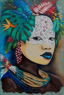 Cuadro etnico rostro de mujer (bjlp089)