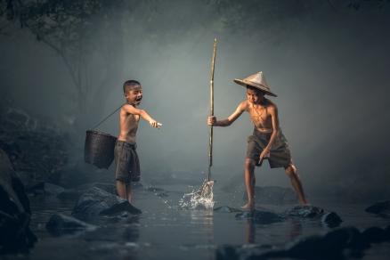 Cuadro ni�os pescando (bpx0508)