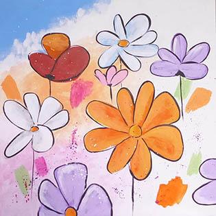 Cuadro flores juveniles (b261)