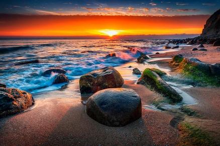Cuadro atardecer en la playa (bfl134386390)