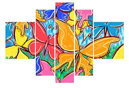 Cuadro multiformas 5 piezas mariposas (bacb2041)